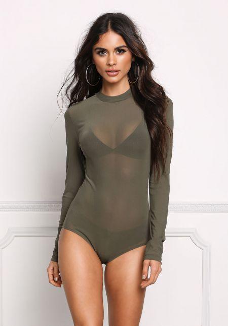 Olive Minimalist Mesh Bodysuit