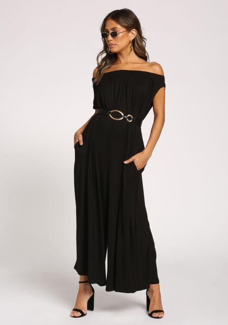 Black Off Shoulder Boxy Knit Jumpsuit