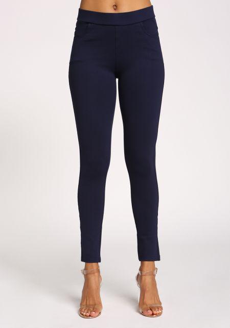 Navy High Rise Pocket Pants