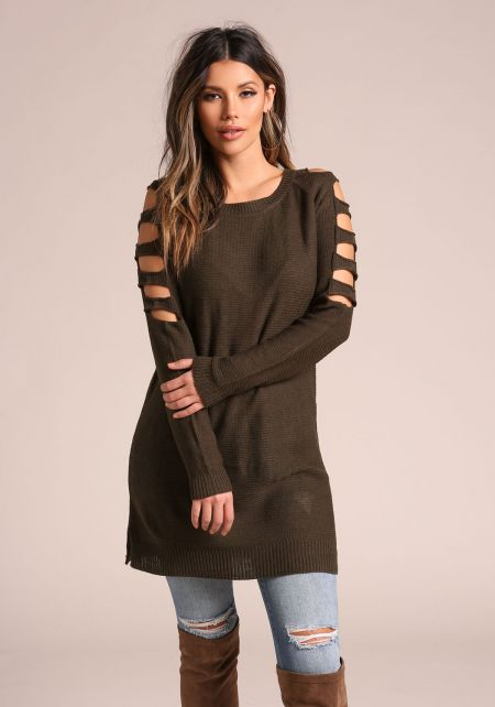 Olive Shoulder Multi Cut Out Tunic Sweater Top