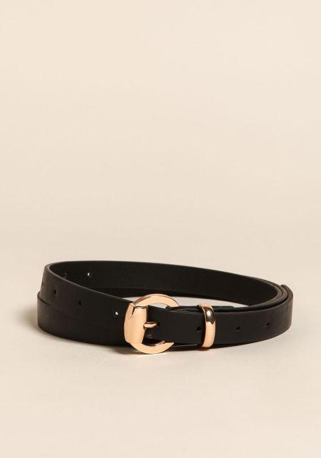 Black Thin Leatherette Belt