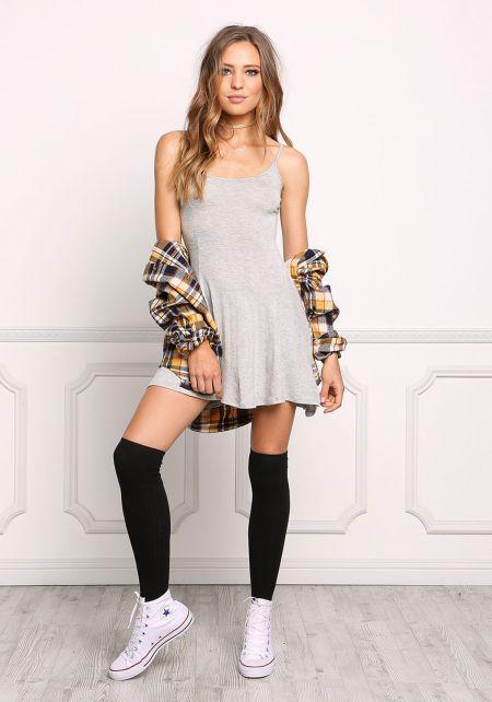 Heather Grey Simple Layer Tank Dress
