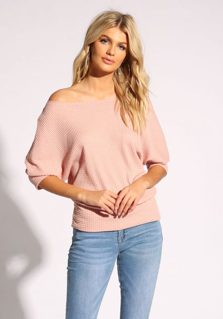 Blush Thermal Off Shoulder Top