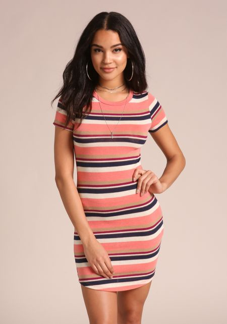 Blush Stripe T-Shirt Dress