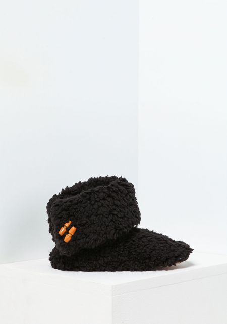 Black Fold Over Bootie Slippers