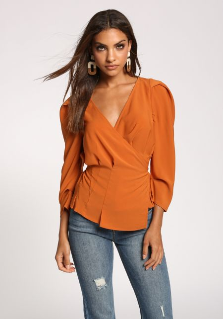 Rust Puff Sleeve Wrap Side Tie Blouse