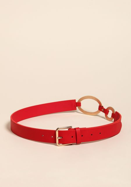 Red Faux Leather O-Ring Belt