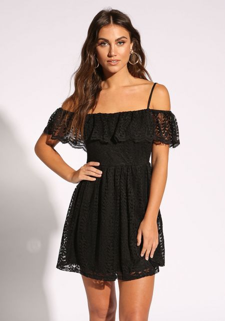 Black Lace Layered Flared Dress