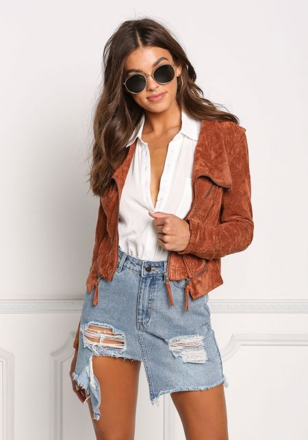 Camel Suedette Zip Up Cropped Moto Jacket