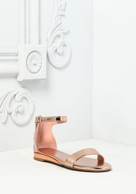 Rose Gold Chrome Ankle Strap Sandals