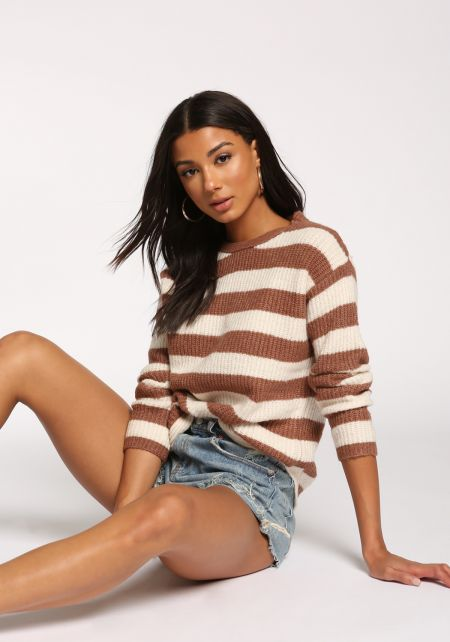 Mauve Stripe Pullover Sweater Top