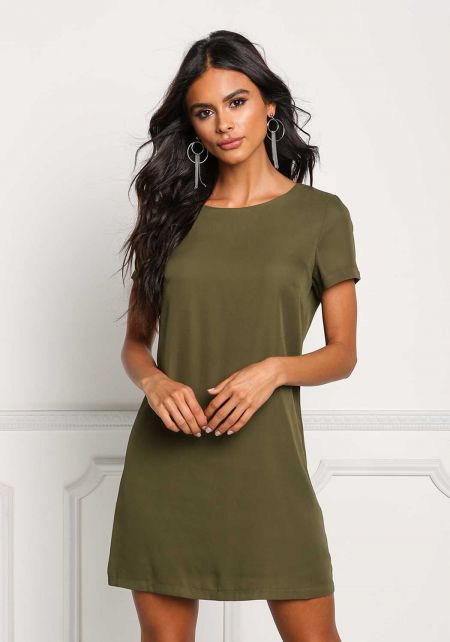 Olive Boxy Shift Dress