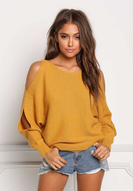 Mustard Sweater Knit Cold Shoulder Dolman Top