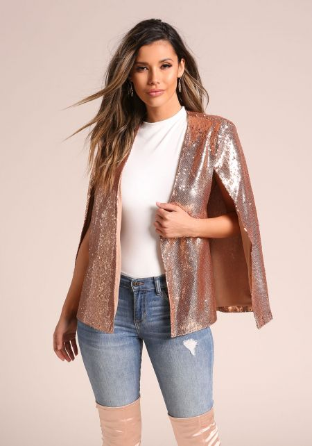 Gold Sequin Cape Slit Blazer