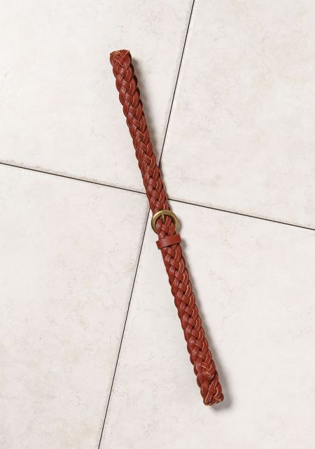 Brown Leatherette Braided Belt