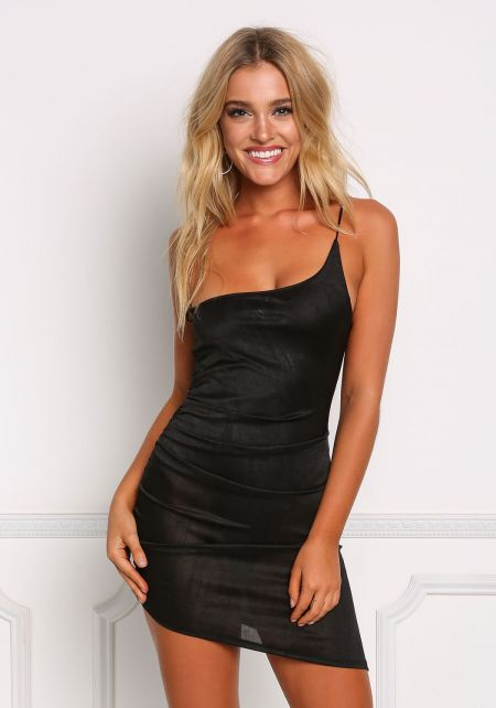 Black One Shoulder Mini Bodycon Dress