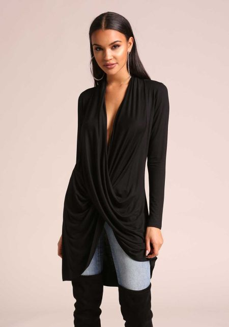 Black Plunge Draped Hi-Lo Jersey Knit Top