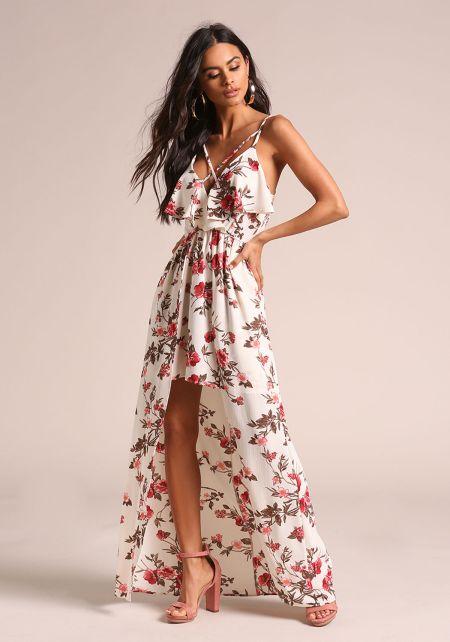 Cream Floral Cross Strap Hi-Lo Maxi Dress