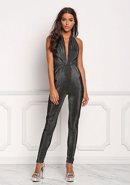 Black Plunge Shimmer Halter Jumpsuit