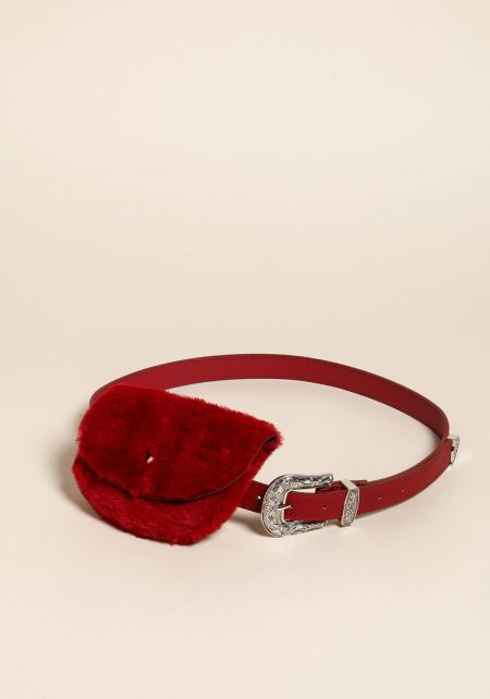 Burgundy Leatherette Faux Fur Fanny Belt