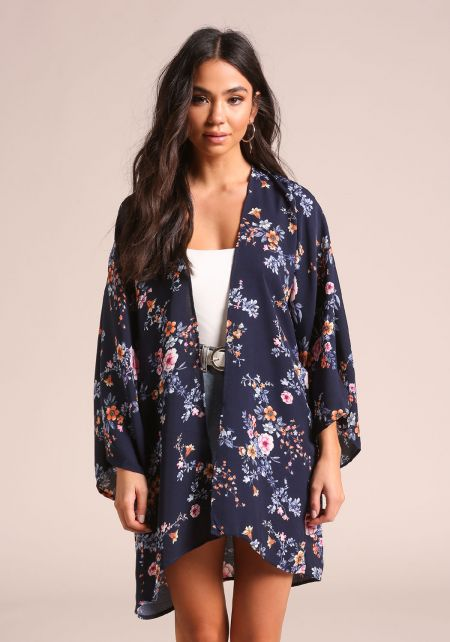 Navy Floral Wide Sleeve Kimono