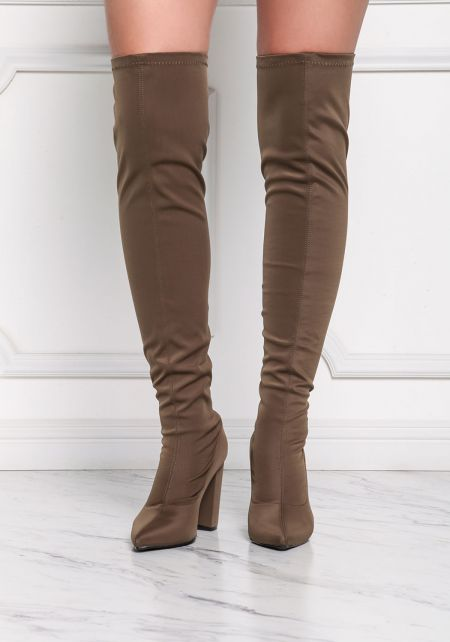 Khaki Over The Knee Pointed Toe Boots