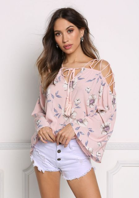 Blush Caged Shoulder Floral Blouse