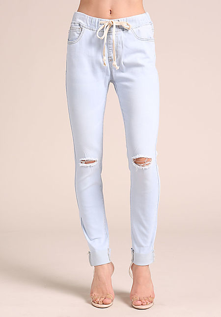 Light Blue Drawstring Cuffed Skinny Jeans