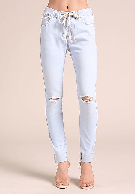 Light Blue Drawstring Cuffed Skinny Jeans