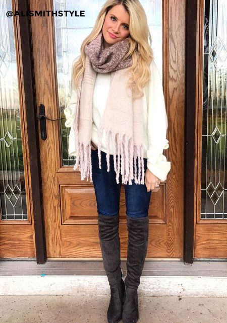 Cream Two Tone Thick Knit Fringe Scarf
