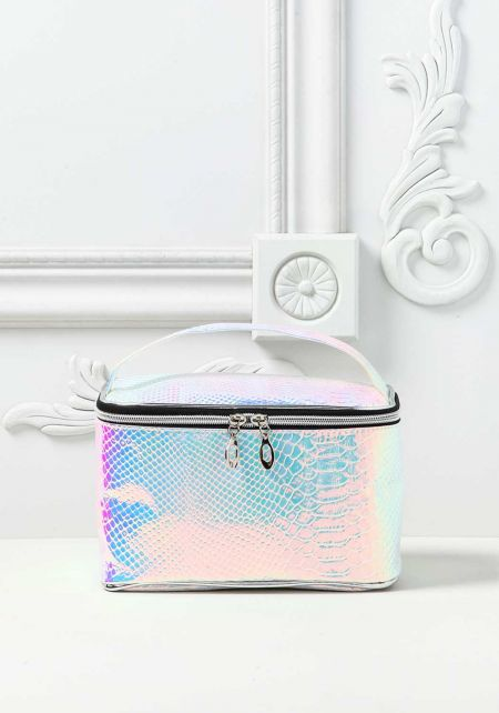 Rainbow Holographic Faux Snakeskin Lunch Bag