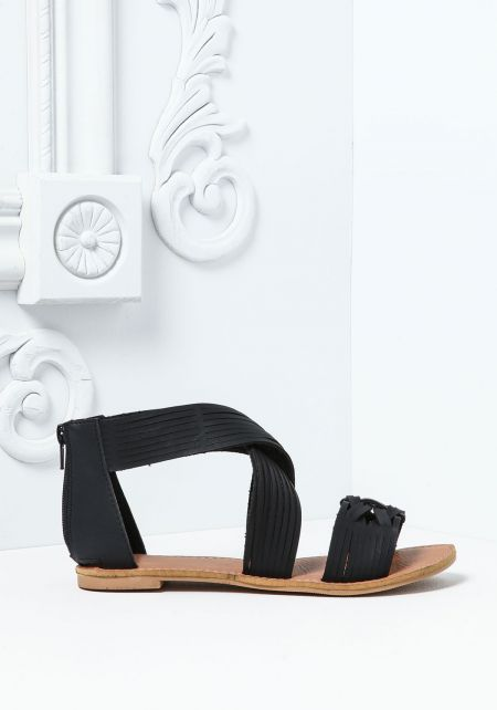 Black Leatherette Braided Open Sandals