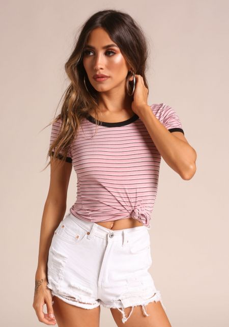 Pink Outlined Stripe Tee