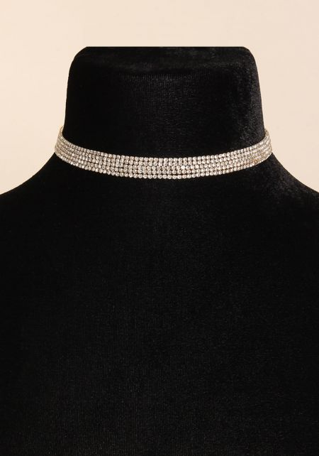 Gold Layered Rhinestone Choker