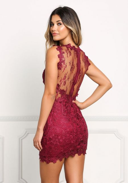 Wine Floral Applique Tulle Bodycon Dress