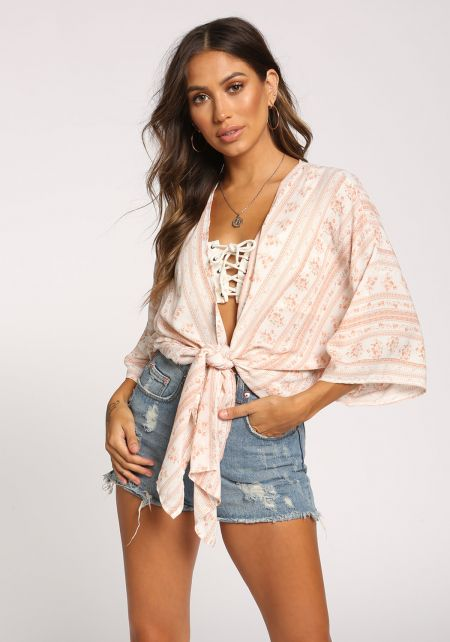 Ivory Floral Tie Front Cropped Kimono