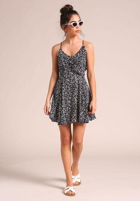 Black Leaf Back Lace Up Flared Dress
