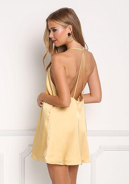 Light Yellow Silky Strappy Shift Dress