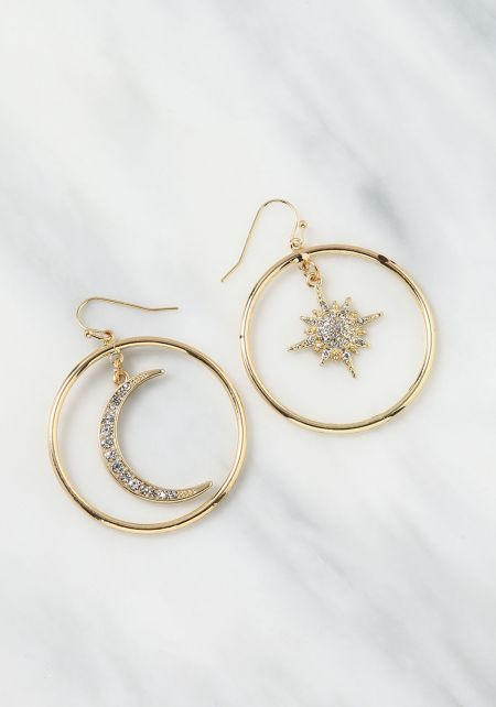Gold Moon & Star Charm Earrings