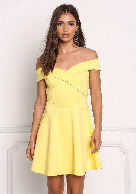 Yellow Off Shoulder Flared Dress