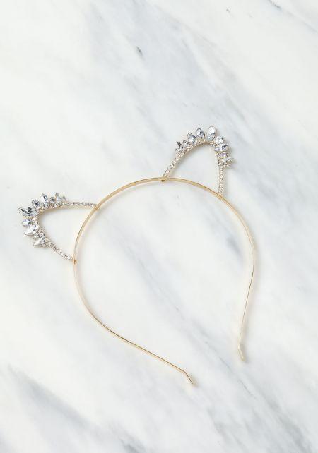 Gold Gem Rhinestone Cat Ears Headband