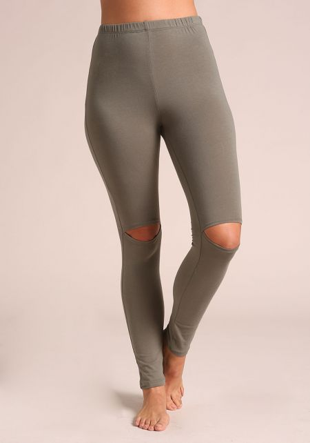 Olive Knee Slit Leggings