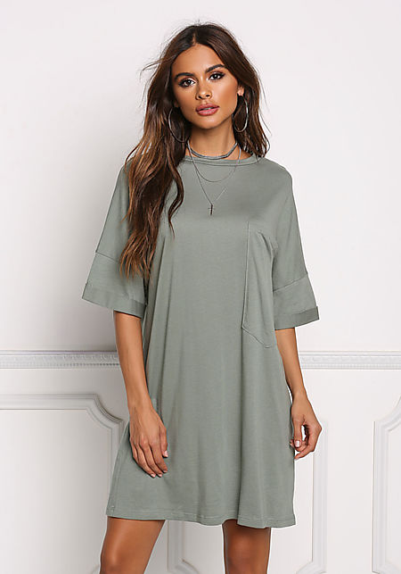 Sage Over Sized Pocket T-Shirt Dress