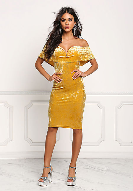 Mustard Crushed Velvet Deep Sweetheart Bodycon Dre