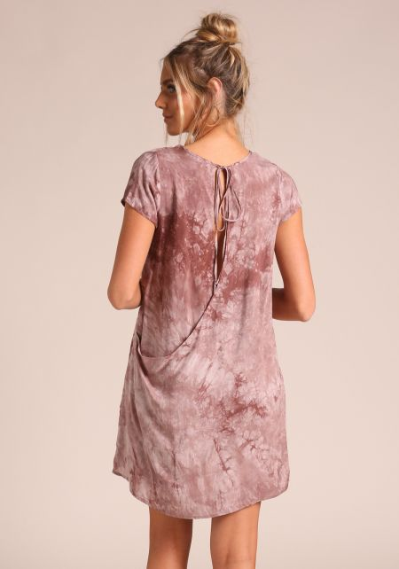 Mauve Tie Dye Back Cut Out Blouse