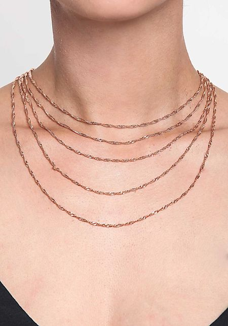 Rose Gold Twisted Chain Delicate Layered Necklace