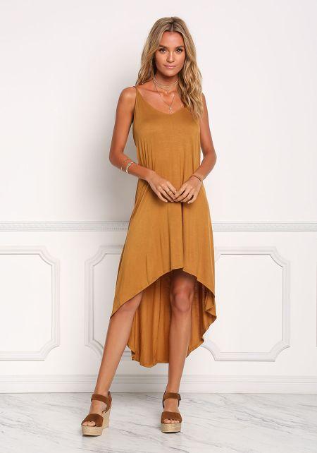 Mustard Hi-Lo Midi Dress