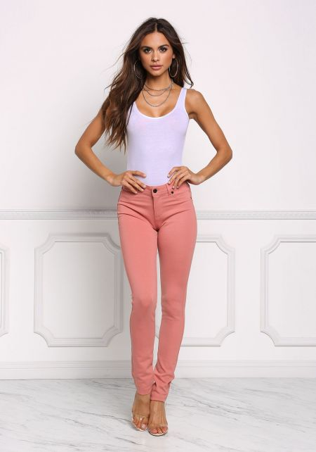 Mauve Mid Rise Stretchy Pants