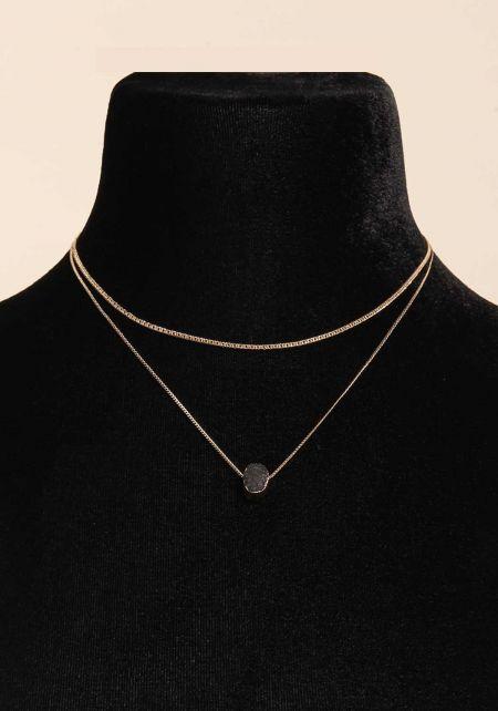 Black Stone Layered Delicate Necklace