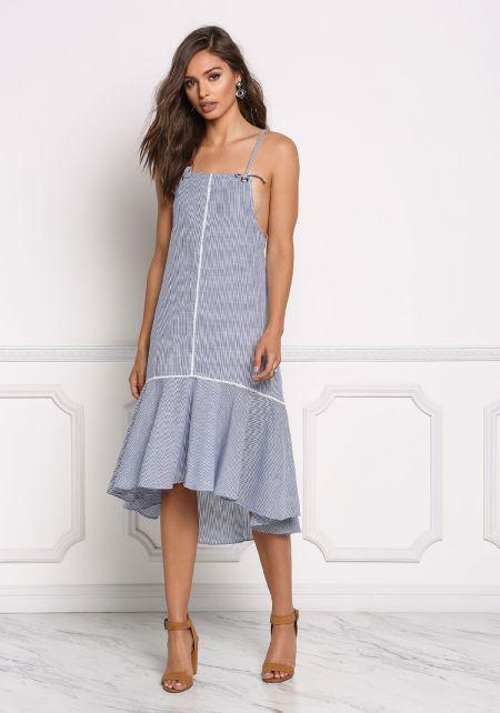 Blue Pinstripe Peplum Midi Dress